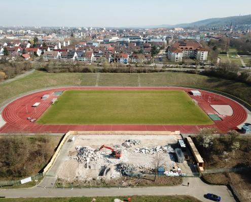 Neubau Albgaustadion Ettlingen: Alte Tribüne ist abgerissen 1