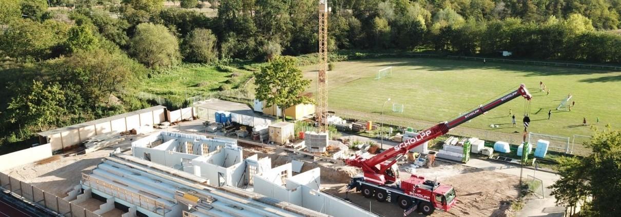 Neubau Albgaustadion Ettlingen: Erdgeschossräume werden errrichtet 1